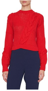 Braided Ribbed-Knit Sweater Xs