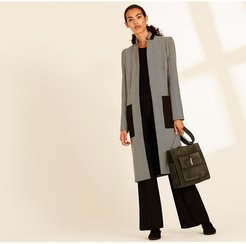 Herringbone Coat With Satin Patch Pockets L Herringbone coat with satin patch pockets