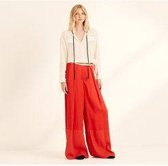 Spice Red Viscose Satin Wide Leg Trousers Burgundy