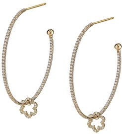 Diamond Flower Hoop-La Gold