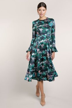 Yahvi Painterly Forest Rose Dress S