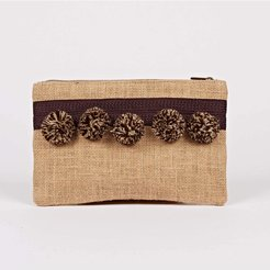 Hessian Pompom Clutch Speckled brown
