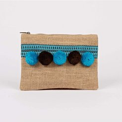 Hessian Pompom Clutch Blue and brown