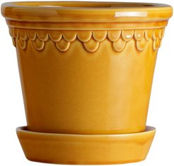 Copenhagen Glazed Plant Pot and Saucer - Amber - 21cm