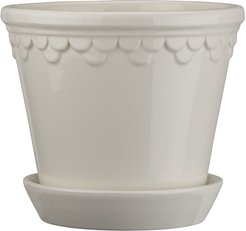 Copenhagen Glazed Plant Pot and Saucer - White - 21cm