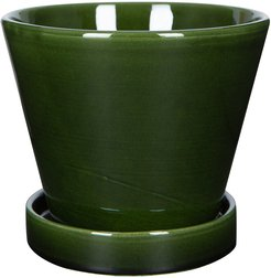 Julie Plant Pot and Saucer - Green - 15cm