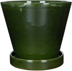 Julie Plant Pot and Saucer - Green - 19cm