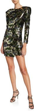 Sequined Camouflage Mini Dress