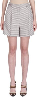 Checkered Pleated Wool Shorts
