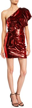 One-Shoulder Sequined Ruffle Shoulder