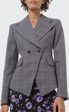 Glen Plaid Pressed Wool Double-Breasted Blazer