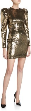 Sequined Puff-Sleeve Mini Dress