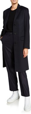 Cashmere Single-Breasted Slim Coat, Navy