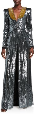 Long-Sleeve Ruched Sequin Gown