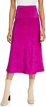 Suede A-Line Midi Skirt