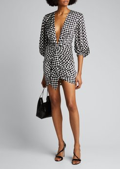 Polka-Dot Puff-Sleeve Mini Dress