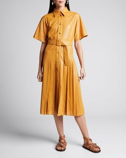 Perforated Faux-Leather Belted Shirtdress