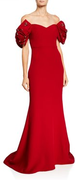 Creep 3D Bow-Sleeve Off-the-Shoulder Gown