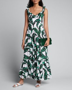 Liya Leaf-Print Ruffled V-Neck Dress