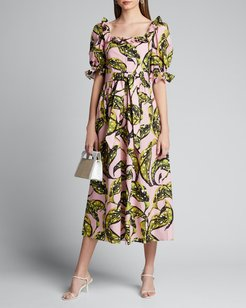 Corina Leaf-Print Poplin Puff-Sleeve Dress