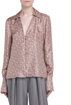 Karligraphy Print Silk V-Neck Blouse