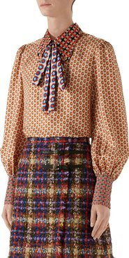Romain GG Twill Button-Front Blouse