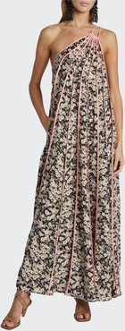 Daisy-Print Seamed One-Shoulder Maxi Dress