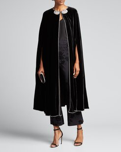 Crystal-Paisley Embroidered Velvet Cape
