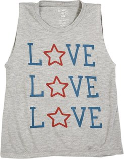 Heathered Love & Star Tank Top, Size S-XL