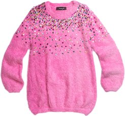 Long-Sleeve Yarn Tunic w/ Rainbow Ombre Sequin Detail, Size 4-6