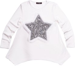 Jersey-Stretch Tunic w/ Faux-Fur & Sequin Star Patches, Size 7-14