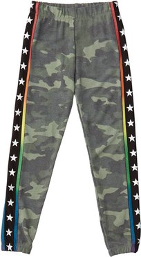 Girl's Camo Sweatpants w/ Star Taping, Size S-XL