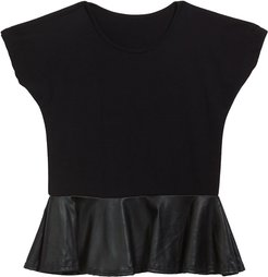 Girl's Faux Leather Peplum Top, Size S-XL