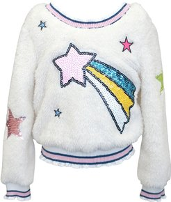 Girl's Sequin Shooting Star Faux Sherpa Top, Size 4-6X