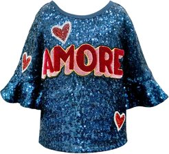Girl's Amore Sequined Top, Size 7-14