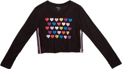 Girl's Hearts Print Cropped Tee w/ Glitter Taping, Size S-XL