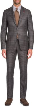 Multi-Check Wool-Cashmere Two-Piece Suit