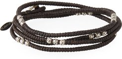 Knotted Wrap Bracelet with Silver Beads, Brown