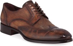 Wing-Tip Leather Derby Shoes