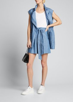 Chambray Belted High-Waist Shorts
