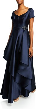 Cap-Sleeve Gazar Gown w/ Asymmetric Overlay & Beaded Trim