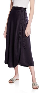Silk Cloque Side-Tie Midi Skirt