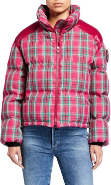 Chou Plaid Puffer Jacket w/ Contrast Shoulders