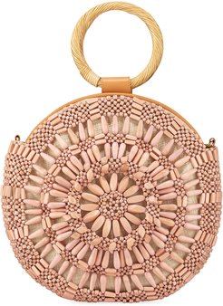Shell Sunburst Round Top-Handle Bag, Pink
