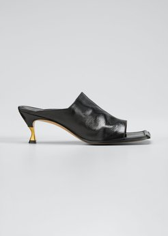Leather Extended Square-Toe Mules