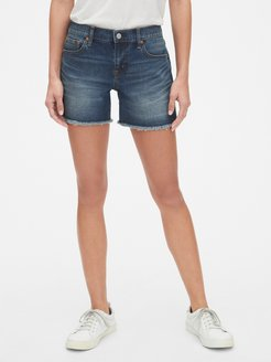 """Mid Rise 5"""" Denim Shorts with Distressed Detail"""