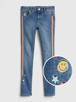 Kids Embroidered Skinny Jeans with Fantastiflex
