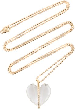 Caged Heart 18K Gold, Rock Crystal and Diamond Neckla