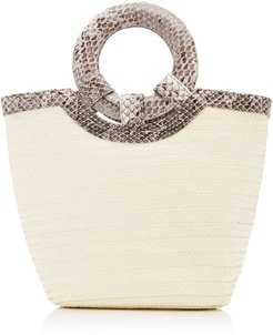 Natural Watersnake Trimmed Straw Tote