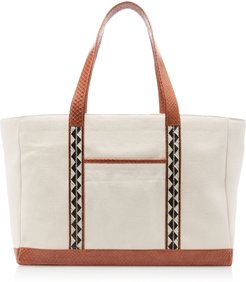 Snake-Trimmed Canvas Tote